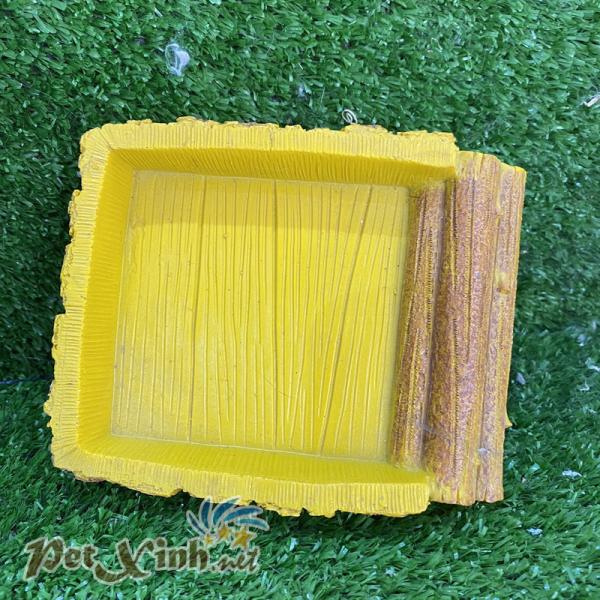 Chén ăn giả gỗ vàng 1 bậc thang cho bò sát