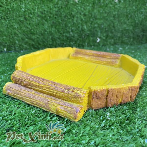 Chén ăn đá giả gỗ vàng bát giác 2 bậc thang cho bò sát