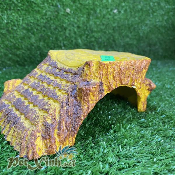 Nhà ngủ bậc thang giả gỗ vàng cho bò sát