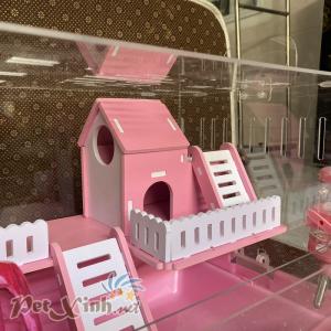 Lồng mica ngôi nhà màu hồng