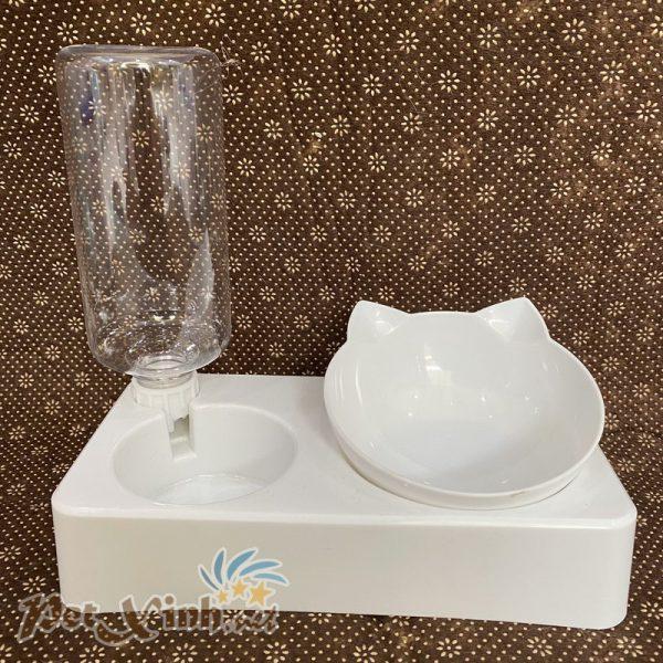 Chén hình mèo và bình nước tích hợp