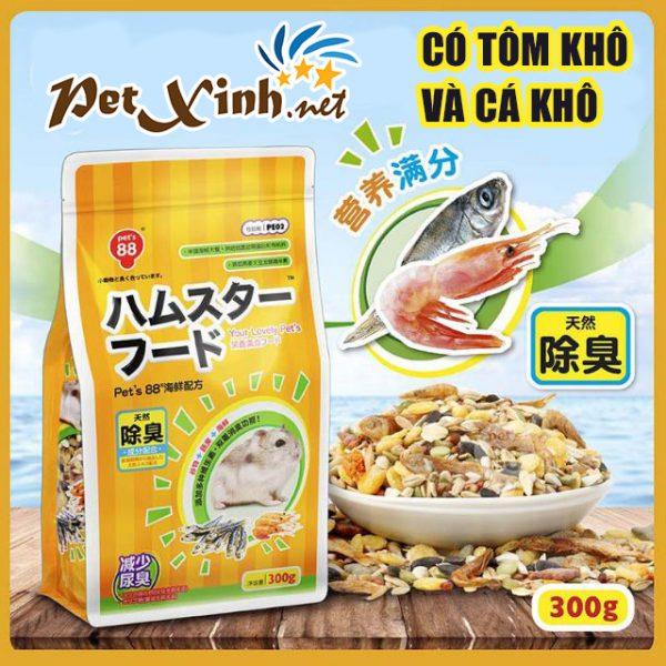 Thức ăn cho Hamster Hải Sản Nhật 300g Có tôm khô và cá khô bên trong